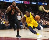 April 25, 2018 - Cleveland, OH, USA - The Indiana Pacers' Victor Oladipo, right, drives against the Cleveland Cavaliers' LeBron James in the first quarter in Game 5 of a first-round playoff series on Wednesday, April 25, 2018, at Quicken Loans Arena in Cleveland. (Credit Image: © Leah Klafczynski/TNS via ZUMA Wire)