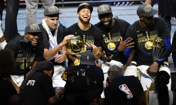 Jun 8, 2018; Cleveland, OH, USA; The Golden State Warriors celebrate after defeating the Cleveland Cavaliers in game four of the 2018 NBA Finals at Quicken Loans Arena. Mandatory Credit: David Richard-USA TODAY Sports