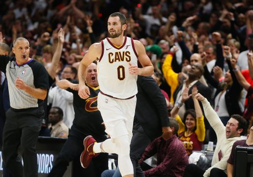 October 17, 2017 - Cleveland, OH, USA - Fans celebrate after the Cleveland Cavaliers' Kevin Love (0) sinks a 3-pointer to put the Cavs in the lead against the Boston Celtics in the fourth quarter on Tuesday, Oct. 17, 2017, at Quicken Loans Arena in Cleveland. The Cavs won, 102-99. (Credit Image: © Leah Klafczynski/TNS via ZUMA Wire)