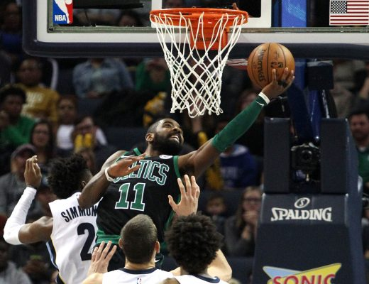 December 17, 2017 - Memphis, TENNESSEE, Estados Unidos - Boston Celtics guard Kyrie Irving (front) drives against Memphis Grizzlies guard Kobi Simmons (back) at FedExForum in Memphis, Tennessee, USA, 16 December 2017. (Credit Image: © Mike Brown/EFE via ZUMA Press)