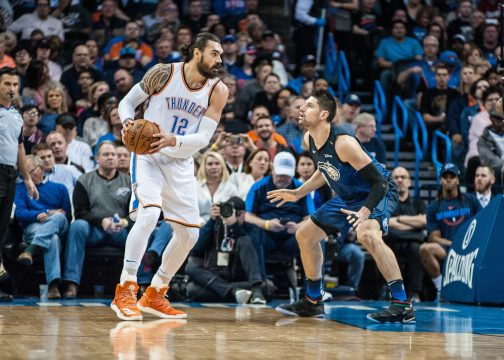 February 26, 2018 - Oklahoma City, OK, U.S. - OKLAHOMA Oklahoma City, OK - FEBRUARY 26: Oklahoma City Thunder Center Steven Adams (12) looking to make a play while Orlando Magic Center Nikola Vucevic (9) plays defense during the Oklahoma City Thunder game versus the Orlando Magic on February 26, 2018, at Chesapeake Energy Arena in Oklahoma City, OK. (Photo by Torrey Purvey/Icon Sportswire) (Credit Image: © Torrey Purvey/Icon SMI via ZUMA Press)