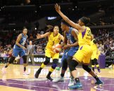 Los Angeles Sparks forward Candace Parker #3 and Los Angeles Sparks forward Nneka Ogwumike #30 playing tight defense on Minnesota Lynx center Sylvia Fowles #34 at Staples Center in Los Angeles, Ca on June 3, 2018. (Photo by Jevone Moore/Full Image 360)(Credit Image: © Jevone Moore/Full Image 360/CSM via ZUMA Wire)