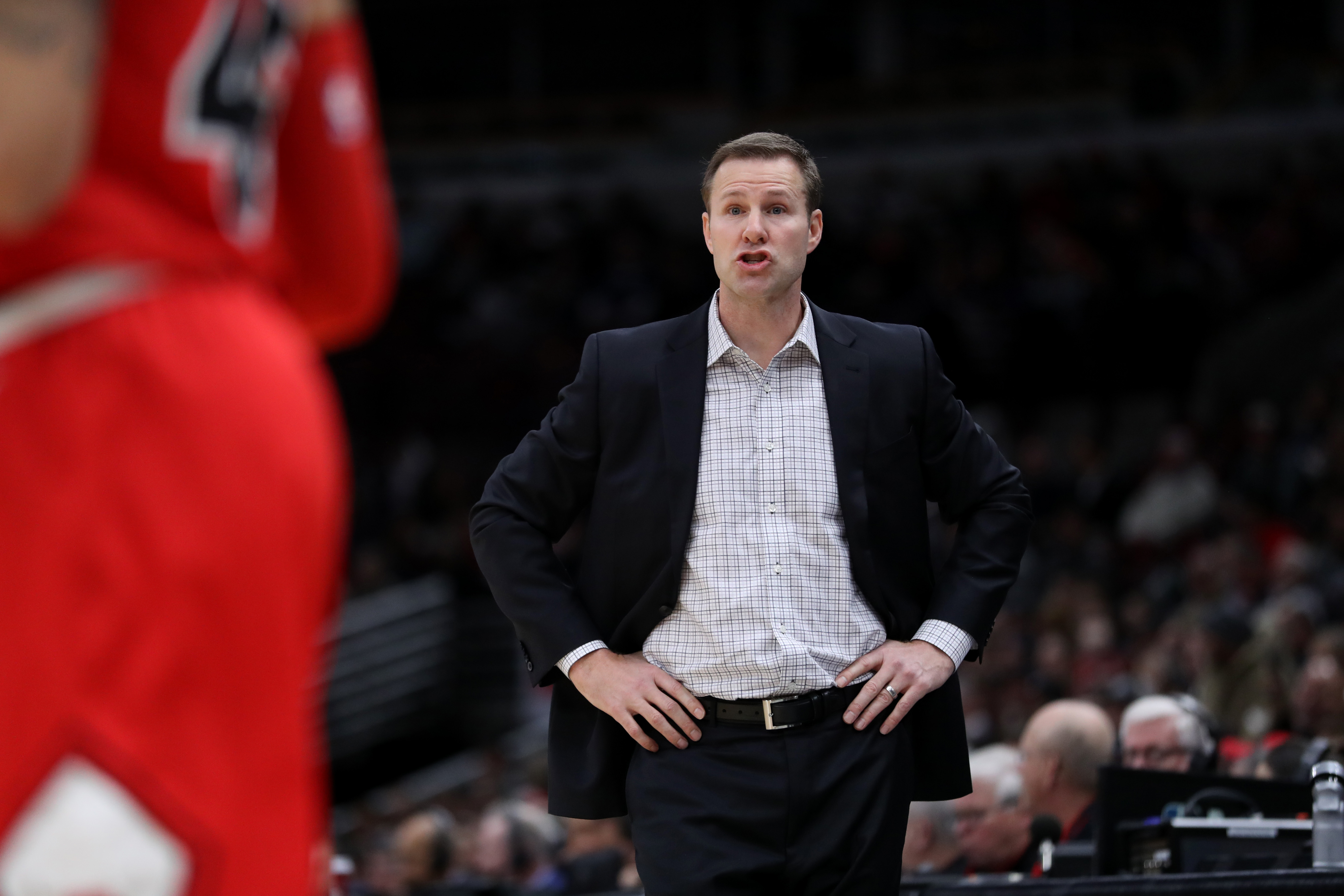 January 3, 2018 - Chicago, IL, USA - Chicago Bulls head coach Fred Hoiberg gives direction to his players in the first half against the Toronto Raptors at the United Center in Chicago on Wednesday January 3, 2018. The Raptors won, 124-115. (Credit Image: © Chris Sweda/TNS via ZUMA Wire)