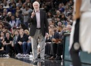 March 16, 2018 - San Antonio, TX, Estados Unidos - San Antonio Spurs head coach, Gregg Popovich (L), during an NBA basketball game against New Orleans Pelicans, during an NBA basketball game in San Antonio, USA, 15 March 2018. San Antonio won 98-93. (Credit Image: © Darren Abate/EFE via ZUMA Press)