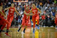 August 17, 2018: Washington Mystics guard Natasha Cloud (9) celebrates hitting the unbelievable last second shot during the game between the Los Angeles Sparks vs Washington Mystics at Capital One Arena in Washington, D.C.. Cory Royster/Cal Sport Media(Credit Image: © Cory Royster/CSM via ZUMA Wire)