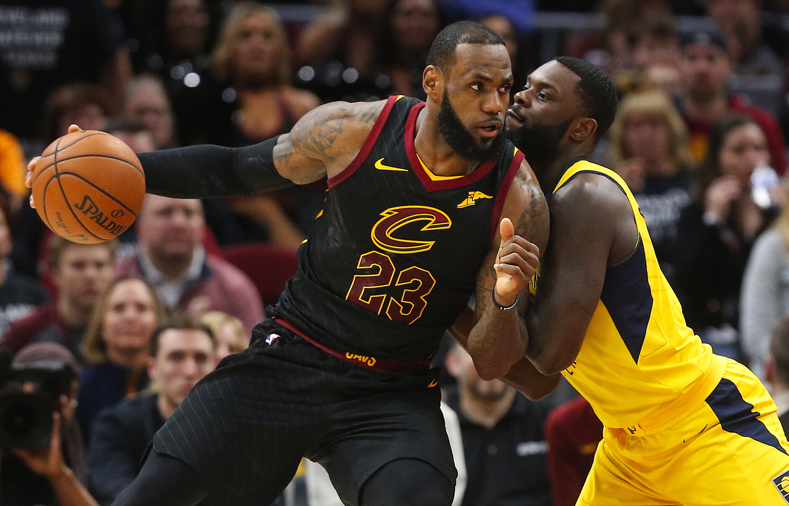 April 29, 2018 - Cleveland, OH, USA - Cleveland Cavaliers forward LeBron James drives the ball against Indiana Pacers Lance Stephenson in the second quarter of Game 7 of the Eastern Conference First Round series on Sunday, April 29, 2018 at Quicken Loans Arena in Cleveland, Ohio. The Cavs won the game, 105-101. (Credit Image: © Leah Klafczynski/TNS via ZUMA Wire)