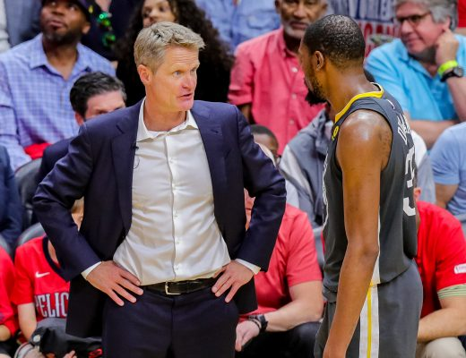 May 6, 2018 - New Orleans, LA, U.S. - NEW ORLEANS, LA - MAY 06:   Golden State Warriors head coach Steve Kerr talks to forward Kevin Durant (35) against New Orleans Pelicans during game 4 of the NBA Western Conference Semifinals at Smoothie King Center in New Orleans, LA on May 06, 2018.  (Photo by Stephen Lew/Icon Sportswire) (Credit Image: © Stephen Lew/Icon SMI via ZUMA Press)