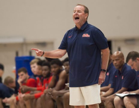 August 9, 2018 - Ottawa, ON, U.S. - OTTAWA, ON - AUGUST 08: Ole Miss coach Kermit Davis shouts instructions during pre-season college basketball play at Carleton University's Raven's Nest in Ottawa, Canada. The Carleton Ravens defeated the Ole Miss Rebels 81-69 in the game played on August 8, 2018.. (Photo by Sean Burges/Icon Sportswire) (Credit Image: © Sean Burges/Icon SMI via ZUMA Press)