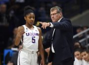 November 17, 2017 - Storrs, CT, USA - Connecticut Huskies head coach Geno Auriemma has a word with guard Crystal Dangerfield (5) during action against California at Gampel Pavilion in Storrs, Conn., on Friday, Nov. 17, 2017. UConn won, 82-47. (Credit Image: © Brad Horrigan/TNS via ZUMA Wire)
