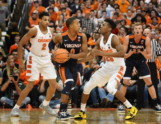 February 3, 2018: Virginia Cavalier guard Devon Hall #0 looks to pass the ball as Virginia defeated Syracuse 59-44 in front of 27,083 fans in an ACC matchup at the Carrier Dome in Syracuse, NY. Photo by Alan Schwartz/Cal Sport Media(Credit Image: © Alan Schwartz/CSM via ZUMA Wire)