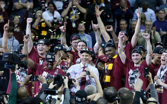 March 24, 2018 - Atlanta, GA, USA - Loyola head coach Porter Moser addresses fans as the team celebrates after a 78-62 win against Kansas State in an NCAA Tournament regional final at Philips Arena in Atlanta on Saturday, March 24, 2018. (Credit Image: © John J. Kim/TNS via ZUMA Wire)