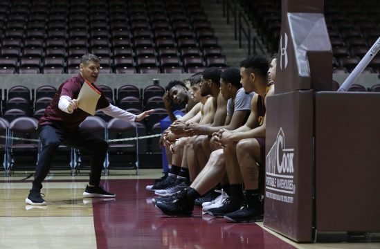 February 21, 2018 - Carbondale, IL, USA - Loyola Ramblers head coach Porter Moser instructs players during practice for a game against the Southern Illinois Salukis on February 21, 2018, in Carbondale, Ill. (Credit Image: © John J. Kim/TNS via ZUMA Wire)