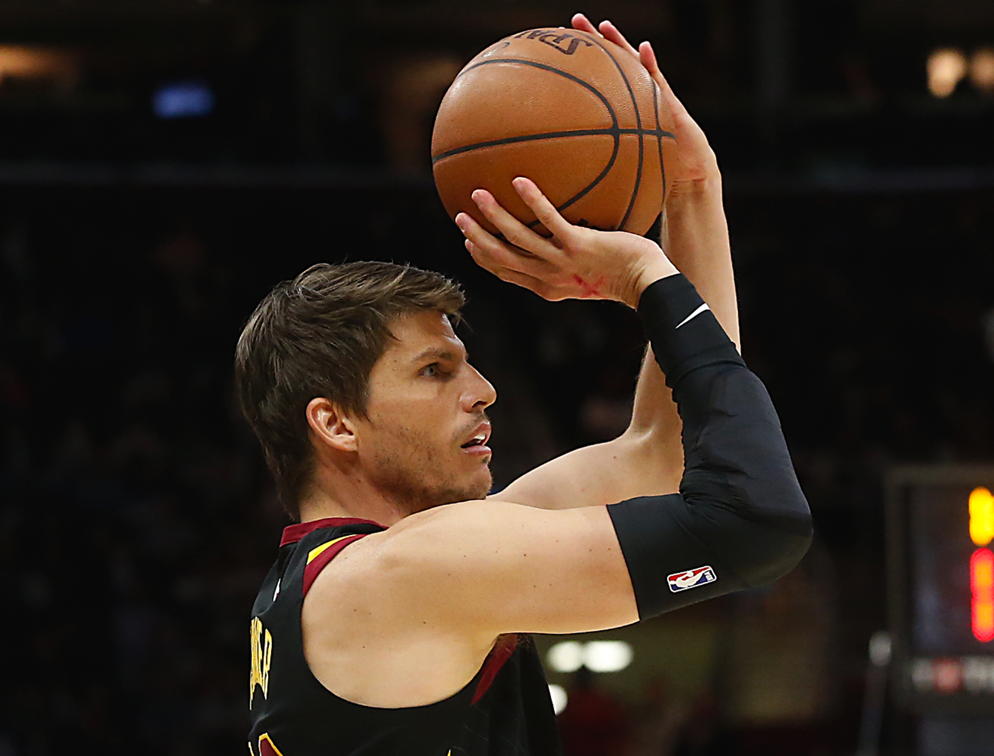 February 22, 2018 - Cleveland, OH, USA - The Cleveland Cavaliers' Kyle Korver hits a 3-pointer against the Washington Wizards in the third quarter at Quicken Loans Arena in Cleveland on Thursday, Feb. 22, 2018. The Wizards won, 110-103. (Credit Image: © Leah Klafczynski/TNS via ZUMA Wire)