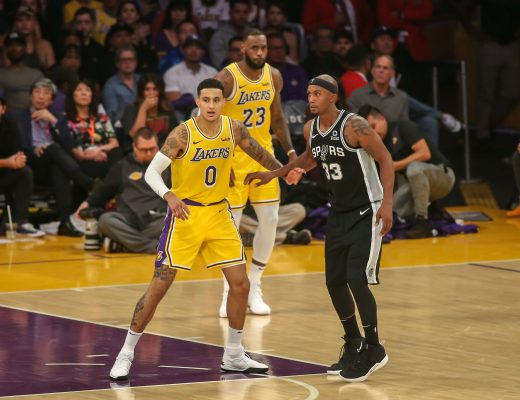 October 22, 2018 Los Angeles, CA..Los Angeles Lakers forward Kyle Kuzma #0 playing defense during the first half of the San Antonio Spurs vs Los Angeles Lakers at Staples Center on October 22, 2018. (Photo by Jevone Moore)(Credit Image: © Jevone Moore / Cal Sport Media/CSM via ZUMA Wire)