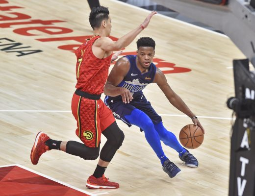 October 24, 2018 - Atlanta, Georgia, U.S. - ATLANTA, GA - OCTOBER 24: Dallas Mavericks guard Dennis Smith Jr. (right) tries to get by an Atlanta Hawks defender during the second quarter of a NBA game on October 24, 2018, at State Farm Arena in Atlanta, GA.  (Photo by Austin McAfee/Icon Sportswire) (Credit Image: © Austin Mcafee/Icon SMI via ZUMA Press)