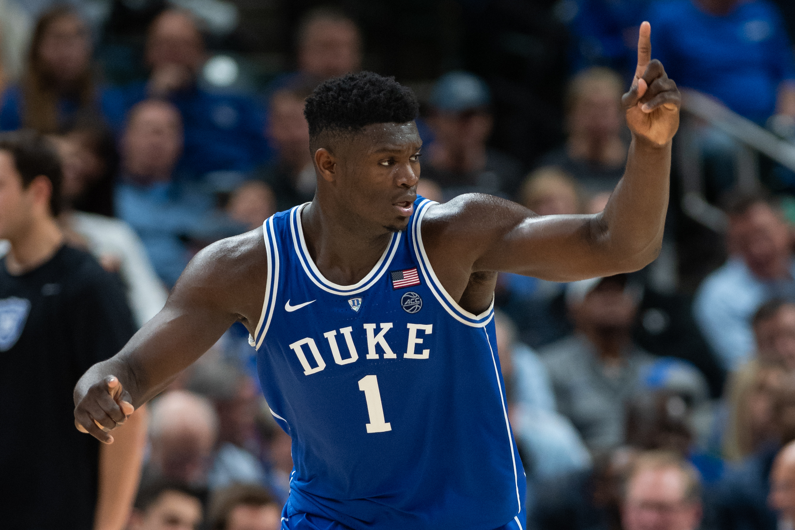 November 7, 2018 - Indianapolis, IN, U.S. - INDIANAPOLIS, IN - NOVEMBER 06: Duke Blue Devils forward Zion Williamson (1) celebrates on the court during the State Farm Champions Classic basketball game between the Duke Blue Devils and Kentucky Wildcats on November 6, 2018, at Bankers Life Fieldhouse in Indianapolis, IN. (Photo by Zach Bolinger/Icon Sportswire) (Credit Image: © Zach Bolinger/Icon SMI via ZUMA Press)