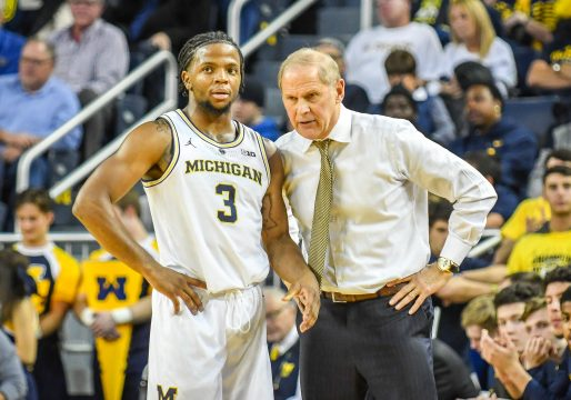 November 6, 2018 - Ann Arbor, MI, U.S. - ANN ARBOR, MI - NOVEMBER 06: Michigan Wolverines head coach John Beilein coaches Michigan Wolverines guard Zavier Simpson (3) during a timeout during the Michigan Wolverines game versus the Norfolk State Spartans on Tuesday November 6, 2018 at Crisler Center in Ann Arbor, MI. (Photo by Steven King/Icon Sportswire) (Credit Image: © Steven King/Icon SMI via ZUMA Press)