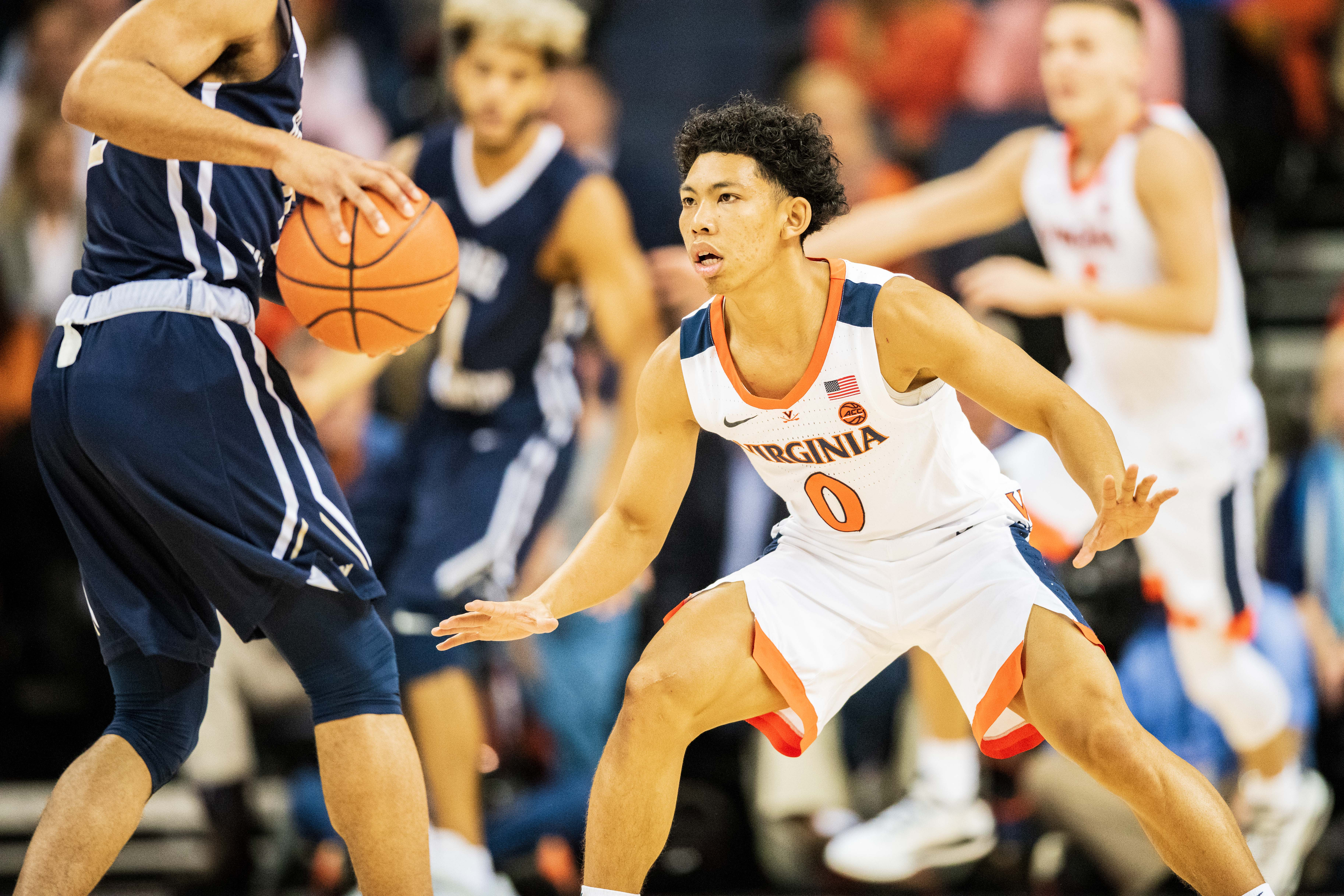 Virginia Cavaliers guard Kihei Clark (0) during the NCAA Basketball game between the George Washington Colonials and the Virginia Cavaliers at John Paul Jones Arena on Sunday November 11, 2018 in Charlottesville, VA. Jacob Kupferman/CSM(Credit Image: © Jacob Kupferman/CSM via ZUMA Wire)