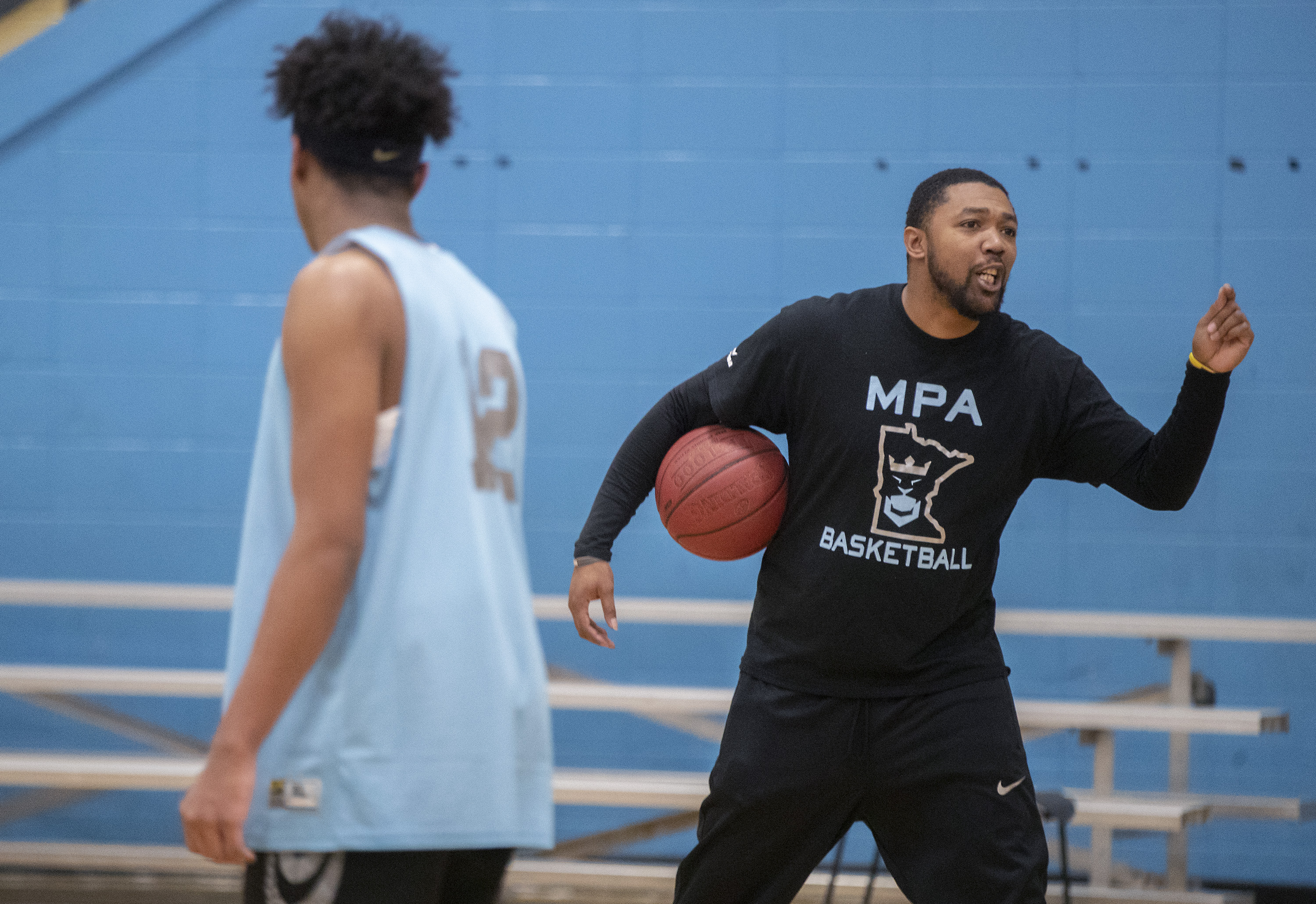 January 9, 2019 - Minneapolis, MN, U.S. - Minnesota Preparatory Academy Head Coach for post-graduates Nick Broch led students in practice, Wednesday, January 9, 2019 in Minneapolis, MN.  The school is a newly-formed basketball-based prep school housed at Jerry Gambles Boys and Girls' Club in north Minneapolis. It was conceived to capitalize on a growing national trend of athletic-based prep schools that cater to the needs of kids who hope to have a basketball future past high school. The school was established using many of the players that led Brooklyn Center to the state Class 2A semifinals a year ago.    ]  ELIZABETH FLORES • liz.flores@startribune.com (Credit Image: © Elizabeth Flores/Minneapolis Star Tribune via ZUMA Wire)