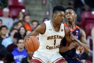 January 9, 2019; Chestnut Hill, MA, USA; Boston College Eagles forward Jairus Hamilton (1) and Virginia Cavaliers guard De'Andre Hunter (12) in action during the NCAA basketball game between Virginia Cavaliers and Boston College Eagles at Conte Forum. Virginia won 83-56. Anthony Nesmith/CSM(Credit Image: © Anthony Nesmith/CSM via ZUMA Wire)
