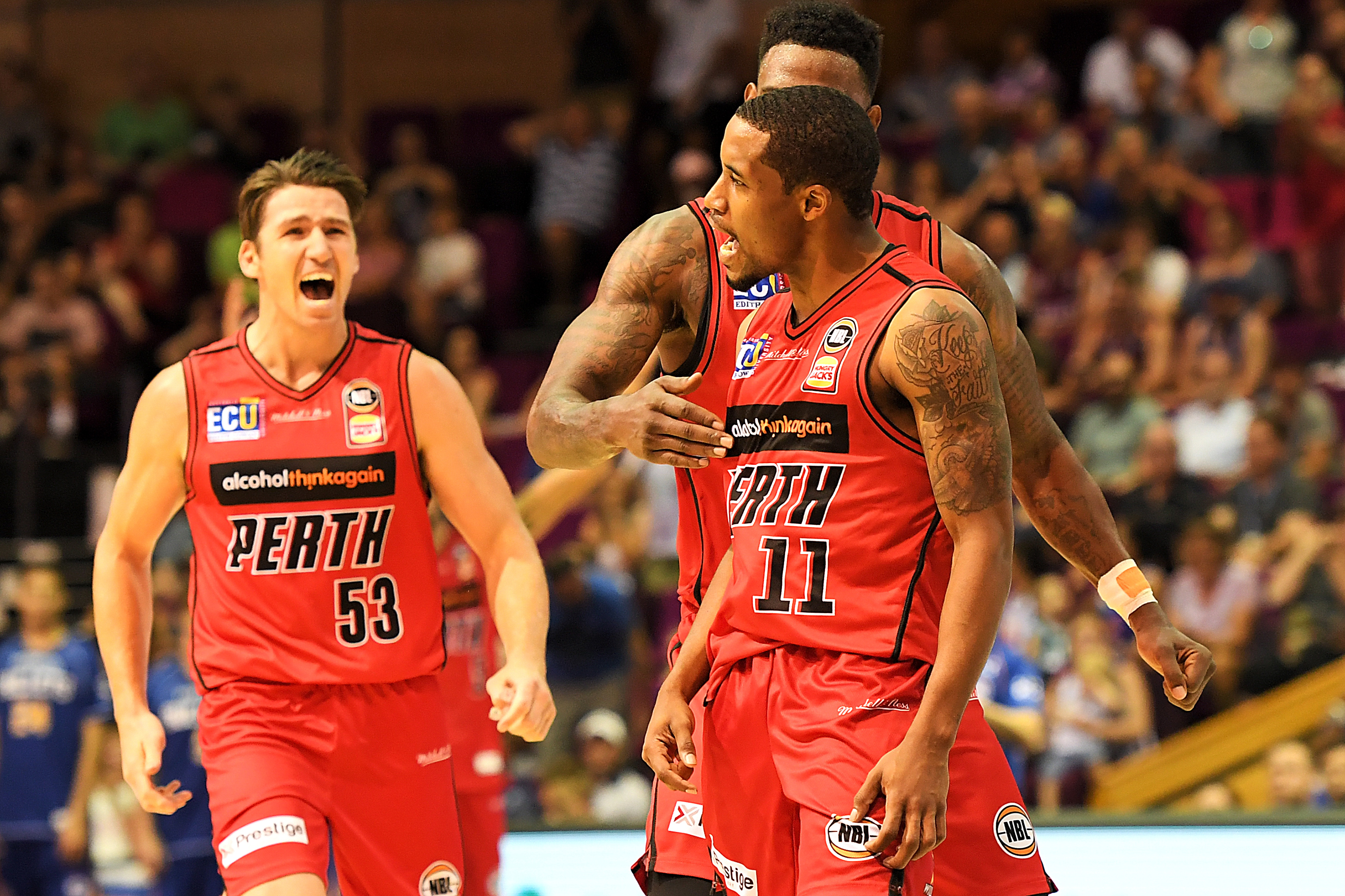 January 14, 2018 - Brisbane, Quensland, Australia - Bryce Cotton of the Wildcats (#11) celebrates during the round fourteen NBL match between the Brisbane Bullets and the Perth Wildcats at the Brisbane Convention and Exhibition Centre on January 14, 2018 in Brisbane, Australia. (Credit Image: © Albert Perez/ZUMA Wire)