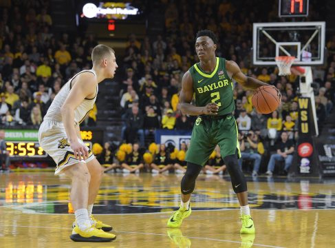 December 01,2018: Baylor Bears guard Devonte Bandoo (2) handles the ball during the NCAA Basketball Game between the Baylor Bears and the Wichita State Shockers at Charles Koch Arena in Wichita,Kansas. Kendall Shaw/CSM(Credit Image: © Kendall Shaw/CSM via ZUMA Wire)