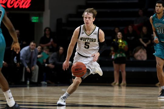 December 9, 2018 - Spartanburg, SC, U.S. - SPARTANBURG, SC - DECEMBER 09: Storm Murphy (5) guard of Wofford advances the ball during a college basketball game between Costal Carolina Chanticleers and Wofford College Terriers on December 9, 2018 at Jerry Richardson Indoor Stadium in Spartanburg, S.C.  (Photo by John Byrum/Icon Sportswire) (Credit Image: © John Byrum/Icon SMI via ZUMA Press)