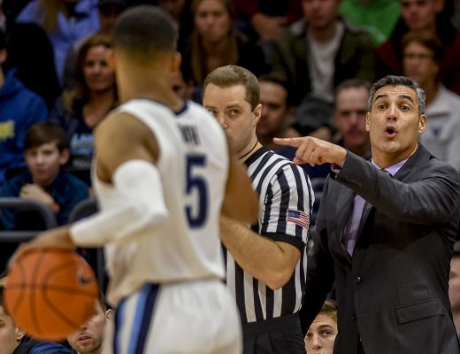 January 2, 2019 - Villanova, PA, U.S. - January 2, 2019 : Villanova Head Coach Jay Wright talks to senior guard Phil Booth during the NCAA basketball matchup between the Villanova Wildcats and DePaul Blue Demons at the Finneran Pavilion in Villanova, Pennsylvania. Scott Serio/Eclipse Sportswire/CSM(Credit Image: © Scott Serio/CSM via ZUMA Wire)