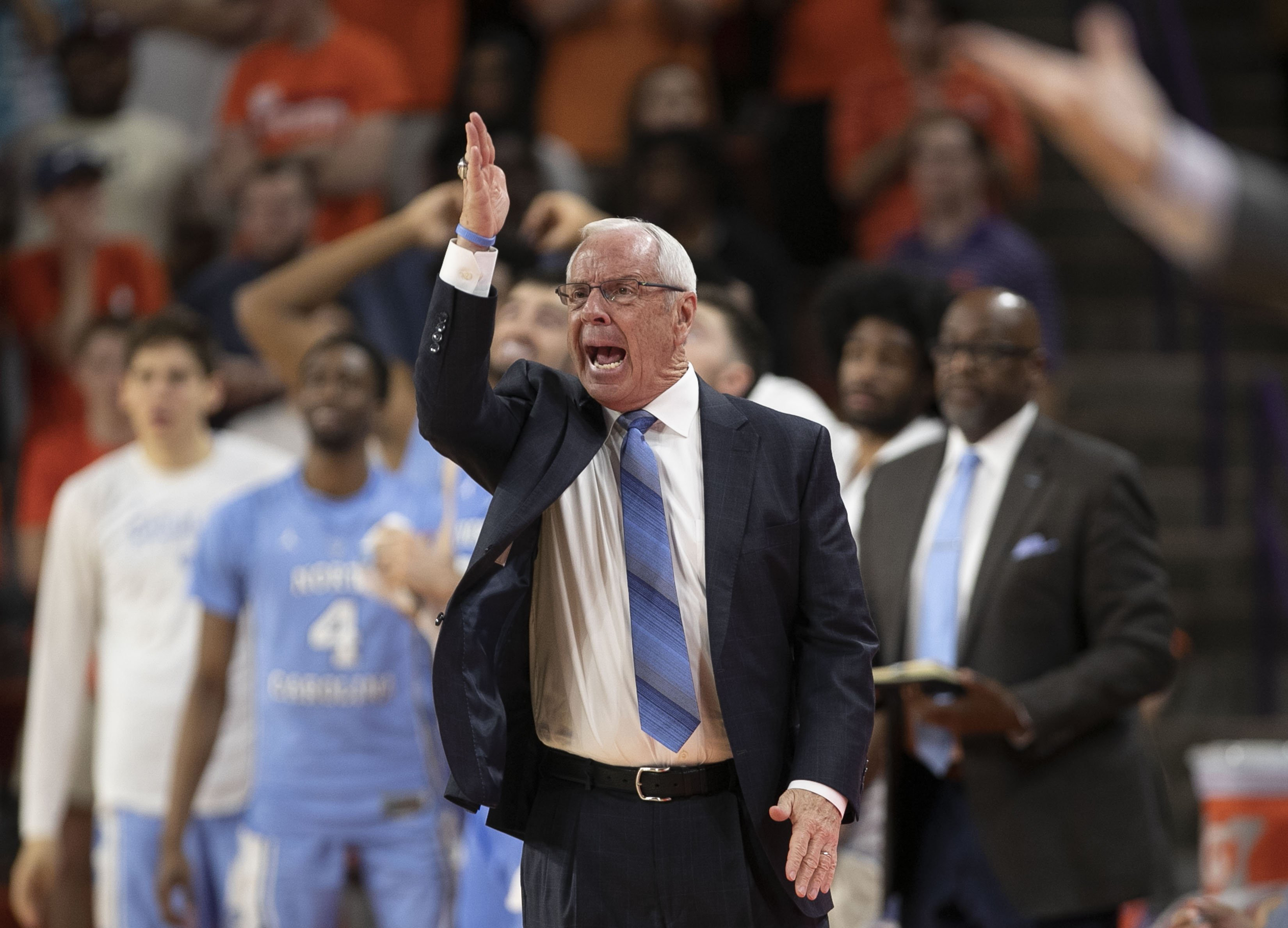 March 2, 2019 - Clemson, SC, USA - North Carolina coach Roy Williams directs his players during the first half against Clemson on Saturday, March 2, 2019, at Littlejohn Coliseum in Clemson, S.C. Williams' Tar Heels topped host Boston College on Tuesday, March 5, 2019, 79-66. (Credit Image: © Robert Willett/Raleigh News & Observer/TNS via ZUMA Wire)