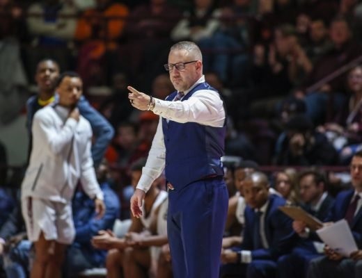 March 8, 2019: Virginia Tech Hokies coach Buzz Williams call a play during NCAA basketball action between the Miami (Fl) Hurricanes and the Virginia Tech Hokies at Cassell Coliseum Blacksburg, VA. Virginia Tech defeats Miami (Fl) 84 -70. Jonathan Huff/CSM(Credit Image: © Jonathan Huff/CSM via ZUMA Wire)