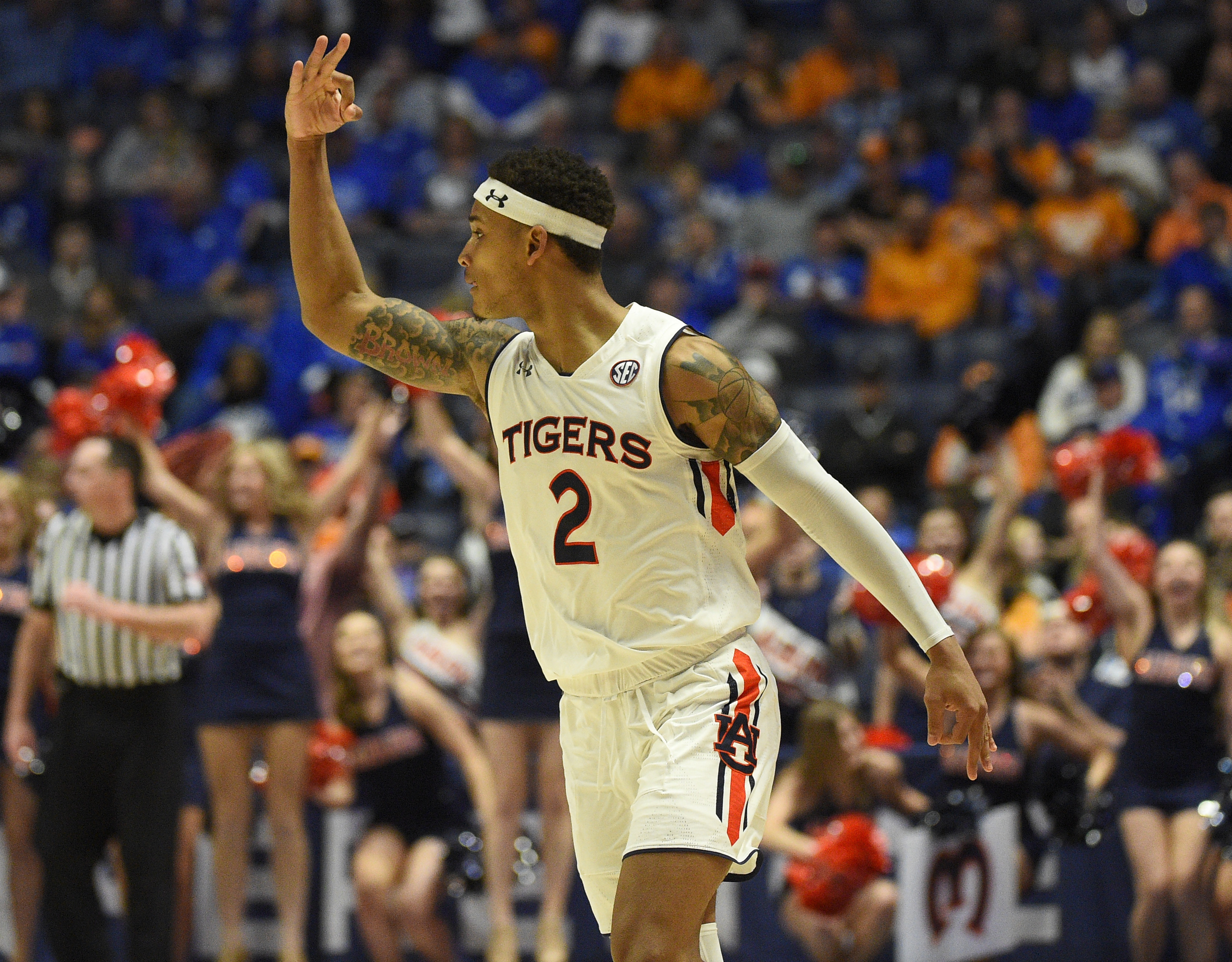 March 16, 2019; Auburn Tigers guard Bryce Brown (2) celebrates after a made three against the Florida Gators during a SEC championship series game between the Auburn Tigers vs Florida Gators at Bridgestone Arena in Nashville, TN (Mandatory Photo Credit: Steve Roberts/Cal Sport Media)(Credit Image: © Steve Roberts/Cal Sport Media/CSM via ZUMA Wire)