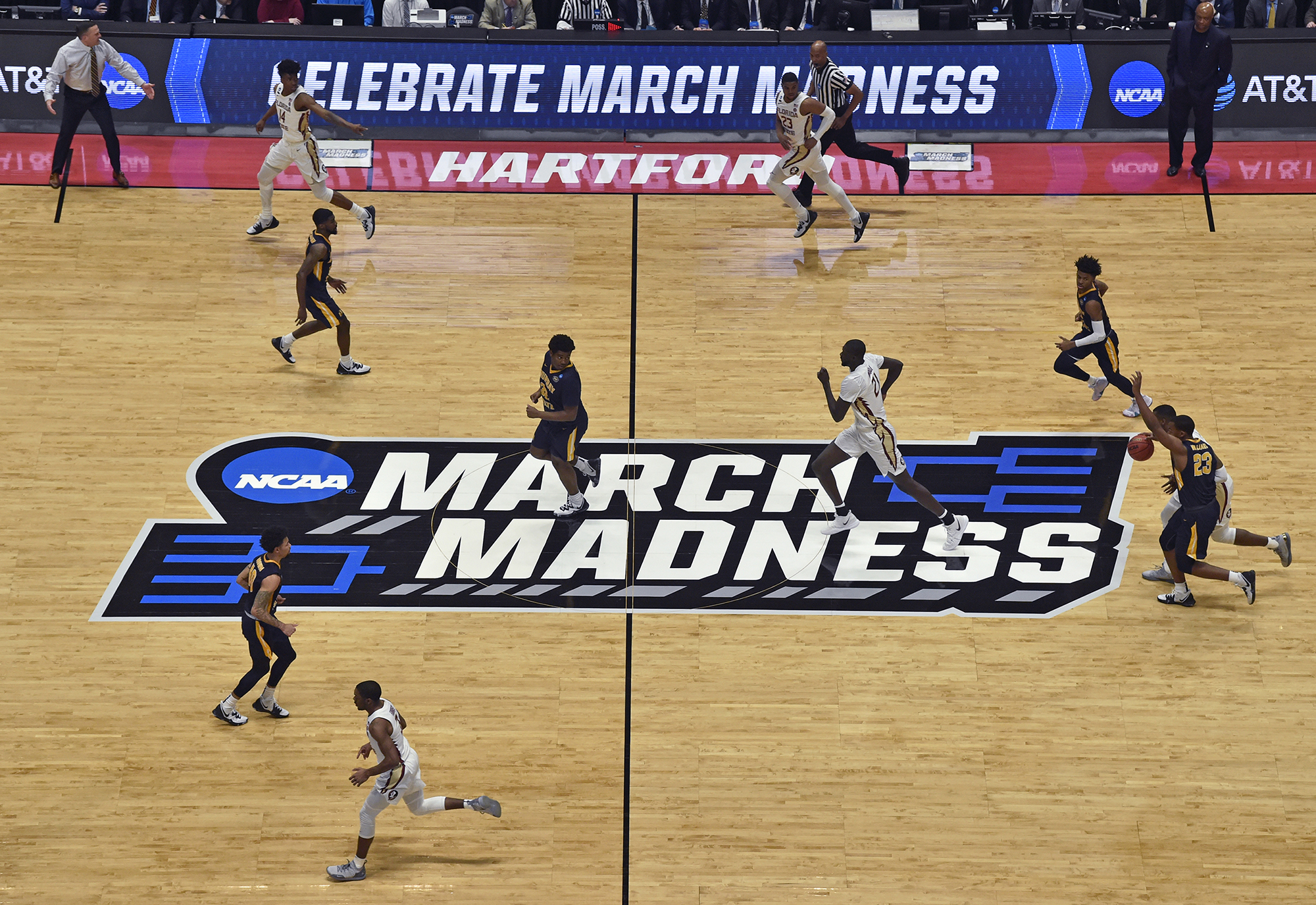 March 23, 2019 - Hartford, CT, USA - Florida State plays Murray State in the second round of the NCAA Tournament at XL Center in Hartford, Conn., on Saturday, March 23, 2019. Florida State advanced, 90-62. (Credit Image: © Brad Horrigan/Hartford Courant/TNS via ZUMA Wire)