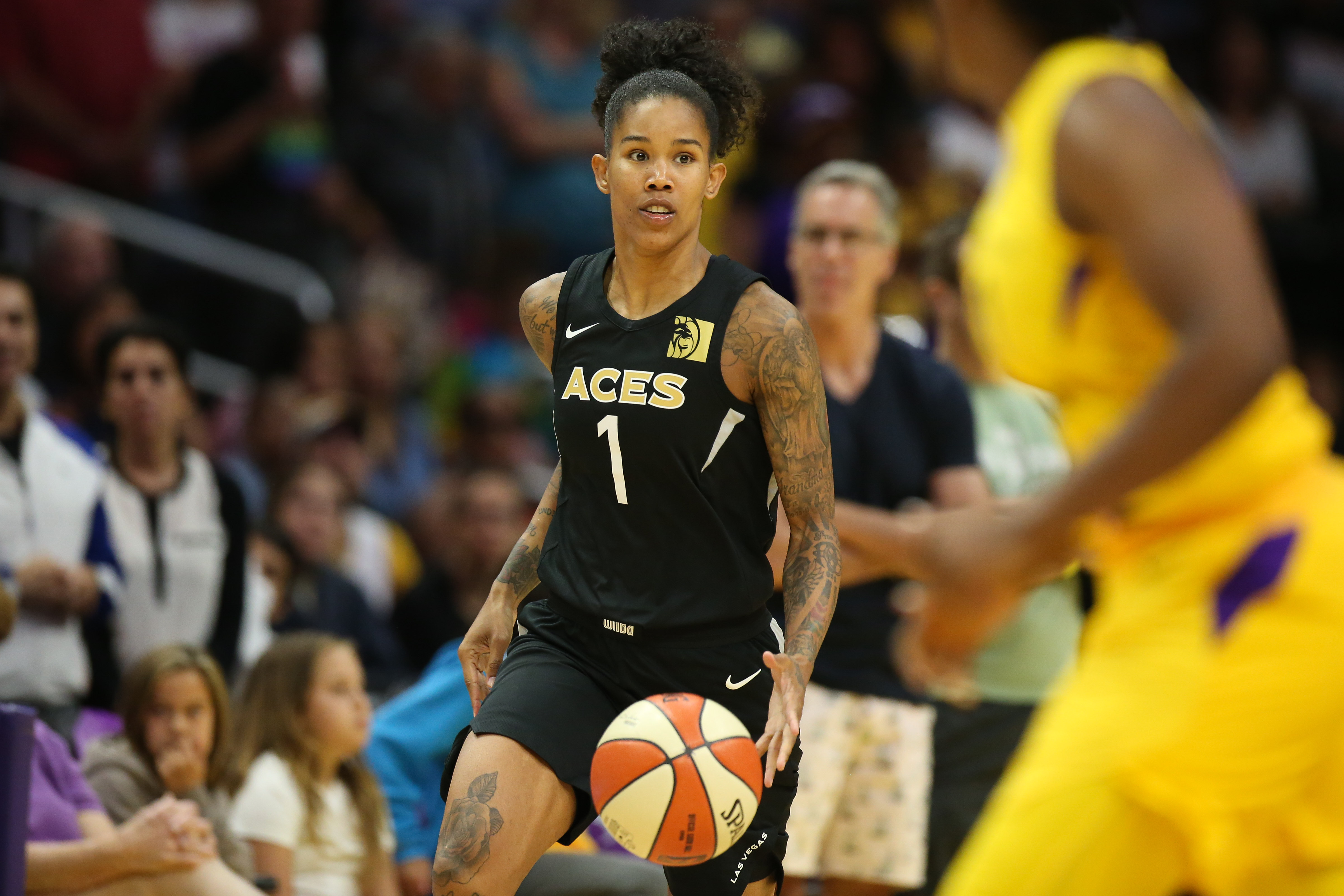 LOS ANGELES, CA - JULY 01: Las Vegas Aces forward Tamera Young (1) brings the ball down court during a WNBA game between the Los Angeles Sparks and the Las Vegas Aces on July 01, 2018, at Staples Center, in Los Angeles, CA. Jordon Kelly/CSM(Credit Image: © Jordon Kelly/CSM via ZUMA Wire)