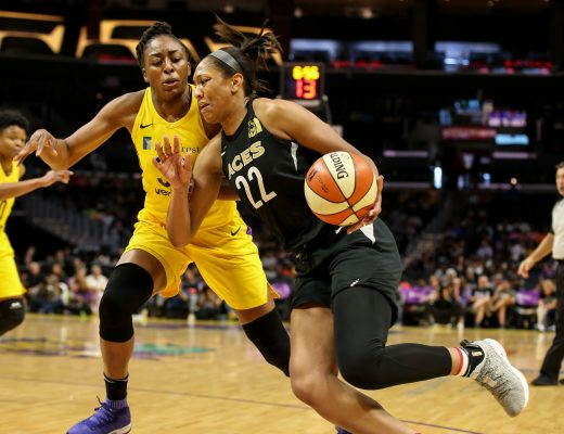 Las Vegas Aces center A'ja Wilson (22) being guarded by Los Angeles Sparks forward Nneka Ogwumike (30) during the Las Vegas Aces vs Los Angeles Sparks game at Staples Center in Los Angeles, Ca on July 1, 2018. (Photo by Jevone Moore)(Credit Image: © Jevone Moore/CSM via ZUMA Wire)