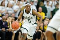 December 3, 2018 - East Lansing, MI, U.S. - EAST LANSING, MI - DECEMBER 03: Michigan State Spartans guard Cassius Winston (5) rushes up the court in transition during a Big Ten Conference college basketball game between Michigan State and Iowa on December 3, 2018, at the Breslin Center in East Lansing, MI. (Photo by Adam Ruff/Icon Sportswire) (Credit Image: © Adam Ruff/Icon SMI via ZUMA Press)