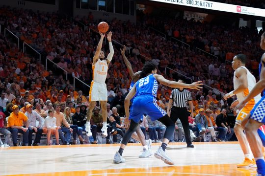 March 2, 2019: Lamonte Turner #1 of the Tennessee Volunteers shoots the ball during the NCAA basketball game between the University of Tennessee Volunteers and the University of Kentucky Wildcats at Thompson Boling Arena in Knoxville TN Tim Gangloff/CSM(Credit Image: © Tim Gangloff/CSM via ZUMA Wire)