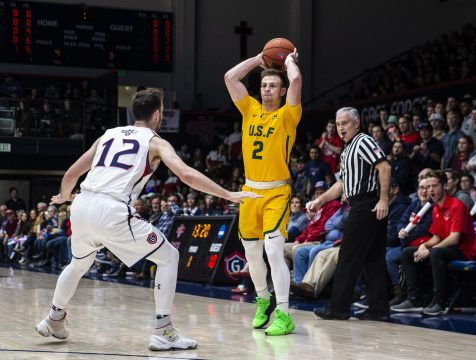 Feb 02 2019 Moraga CA, U.S.A. San Francisco guard Frankie Ferrari (2) looks to pass the ball during the NCAA Men's Basketball game between San Francisco Dons and the Saint Mary's Gaels 80-86 lost at McKeon Pavilion Moraga Calif. Thurman James / CSM(Credit Image: © Thurman James/CSM via ZUMA Wire)