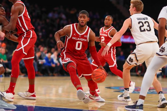December 4, 2018 - New York, NY, U.S. - NEW YORK, NY - DECEMBER 04:  Oklahoma Sooners guard Christian James (0) during the first half of the College Basketball Game between the Notre Dame Fighting Irish and the Oklahoma Sooners on December 4, 2018 at Madison Square Garden in New York, NY.(Photo by Rich Graessle/Icon Sportswire) (Credit Image: © Rich Graessle/Icon SMI via ZUMA Press)