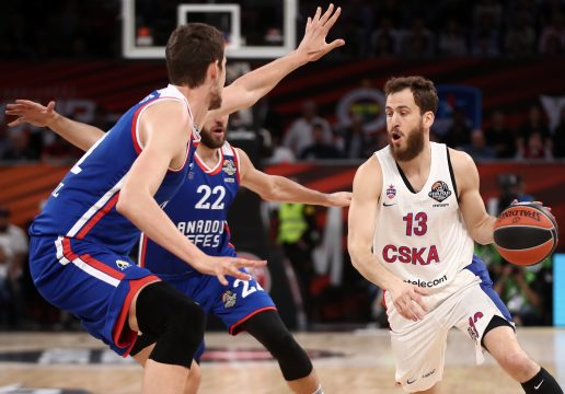 VITORIA-GASTEIZ, SPAIN – MAY 19, 2019: BC CSKA Moscow's Sergio Rodriguez dribbles past BC Anadolu Efes Istanbul's Vasilije Micic (R-L) in their 2019 Basketball Euroleague Final Four championship game, at Fernando Buesa Arena  (Credit Image: © Valery Sharifulin/TASS via ZUMA Press)
