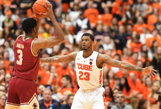 February 09, 2019: Syracuse senior guard Frank Howard (23) on defense during the first half of play. The Syracuse Orange defeated the Boston College Eagles 67-56 at the Carrier Dome in Syracuse, NY. Alan Schwartz/CSM(Credit Image: © Alan Schwartz/CSM via ZUMA Wire)