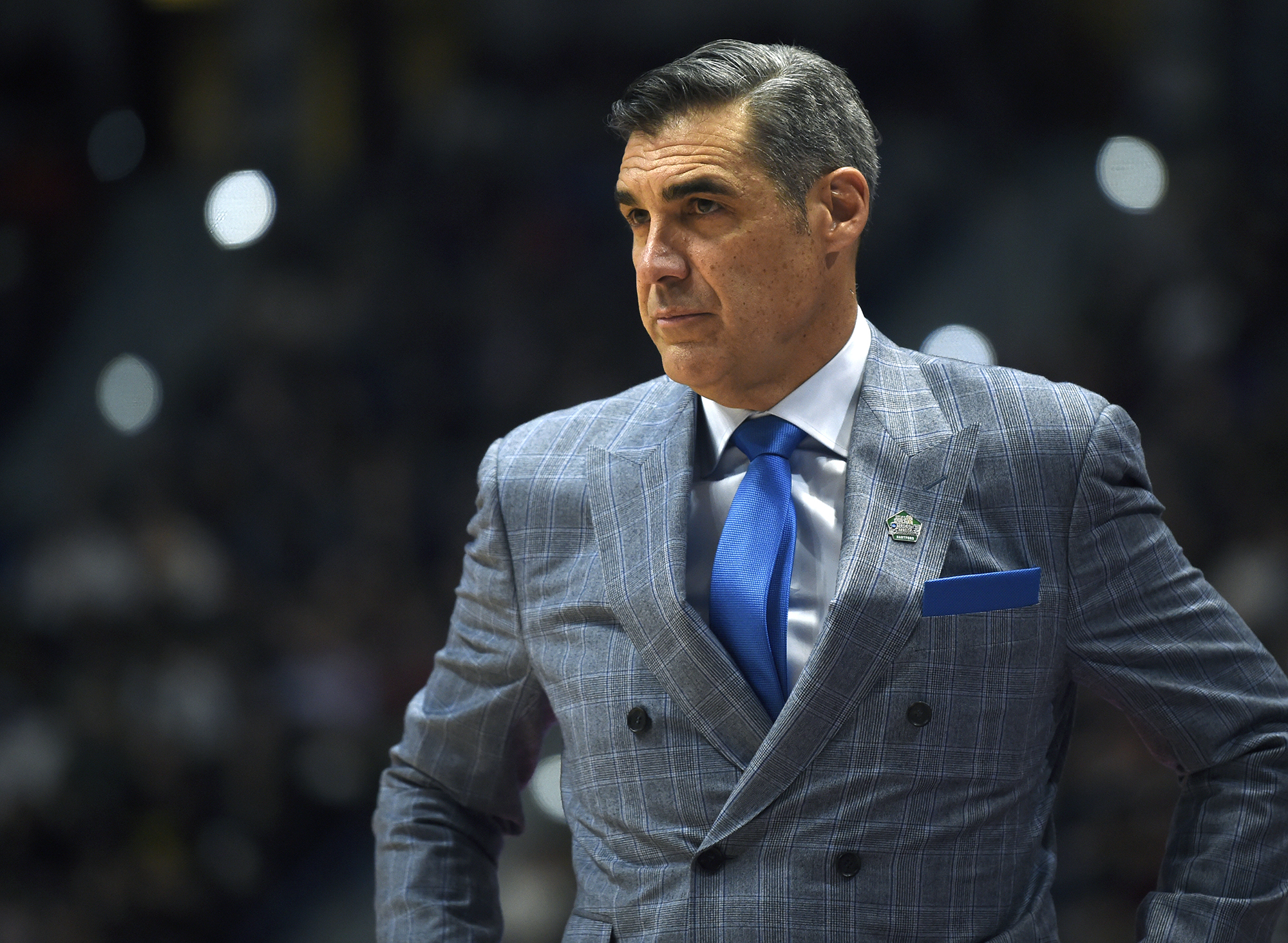 March 21, 2019 - Hartford, CT, USA - Villanova head coach Jay Wright looks on during action against St. Mary's in the first round of the NCAA Tournament at XL Center in Hartford, Conn., on Thursday, March 21, 2019. Villanova advanced, 61-57. (Credit Image: © Brad Horrigan/Hartford Courant/TNS via ZUMA Wire)