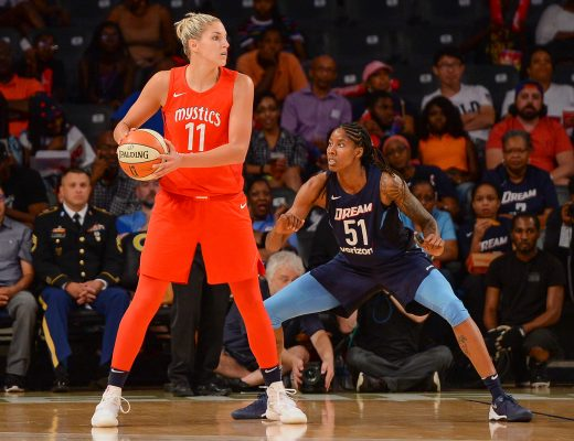 August 26, 2018 - Atlanta, GA, U.S. - ATLANTA, GA Ð AUGUST 26: Washington's Elena Delle Donne (11) looks to pass the ball while defended by Atlanta's Jessica Breland (51) during the WNBA semi-final playoff game between Atlanta and Washington on August 26th, 2018 at Hank McCamish Pavilion in Atlanta, GA. The Washington Mystics defeated the Atlanta Dream by a score of 87 Ð 84.  (Photo by Rich von Biberstein/Icon Sportswire) (Credit Image: © Rich Von Biberstein/Icon SMI via ZUMA Press)