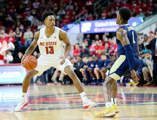 January 12, 2019 - Raleigh, North Carolina, U.S - NC State guard C.J. BRYCE (13) matching up against Pitt guard XAVIER JOHNSON (1) in a game on January 12, 2019 at PNC Arena in Raleigh, NC. (Credit Image: © Ed Clemente/ZUMA Wire)